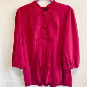 Nicole Miller pink pleated buttons blouse: 16